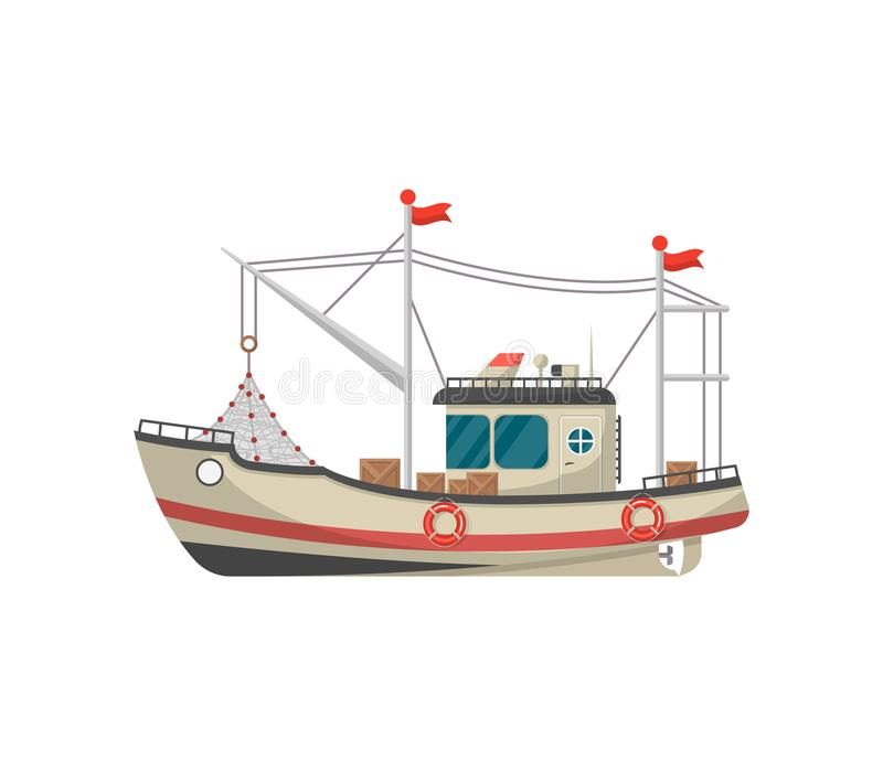 Small fishing trawler side view icon vector illustration