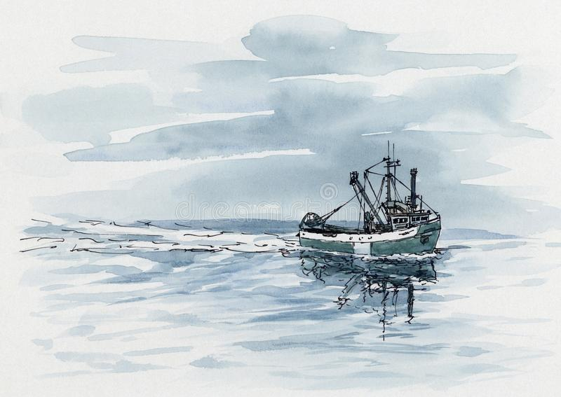 Small fishing trawler. Ink and watercolor on cardboard vector illustration