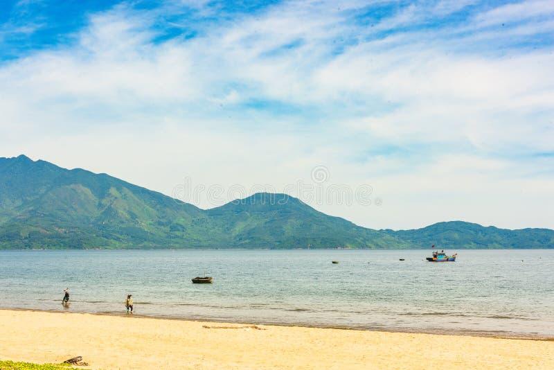 Small fishing village - Da Nang beach royalty free stock image