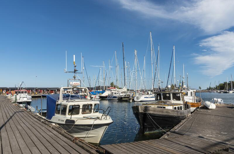 Small fishingboats Oxelosund Sweden stock images