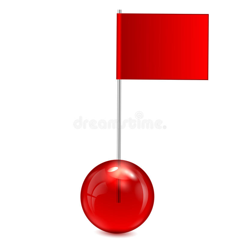 Small flag of red color with ball royalty free illustration