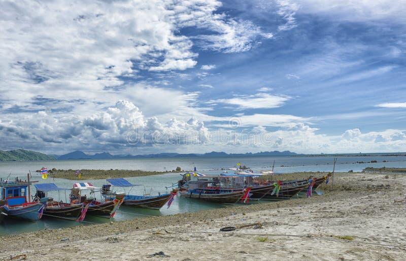 Fishermen boats in Hua Thanon: Thailand royalty free stock photography