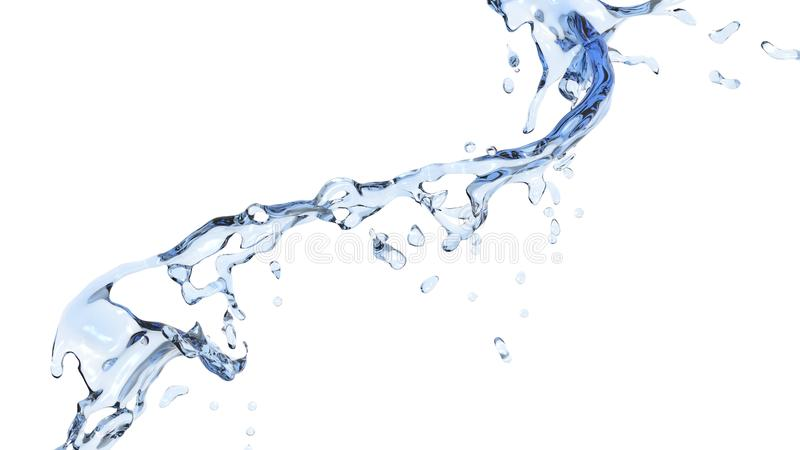 Small flow of fresh pure water. Isolated on white background royalty free stock photo