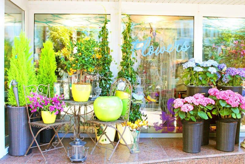 Small flower shop stock photos