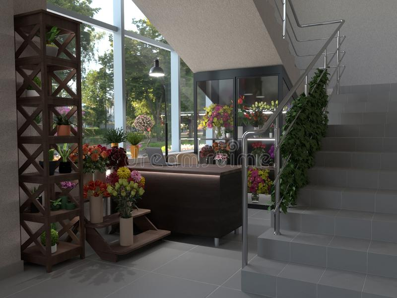 A small flower shop with a large window and a glass display case for flowers. 3D interior design, 3D visualization royalty free illustration