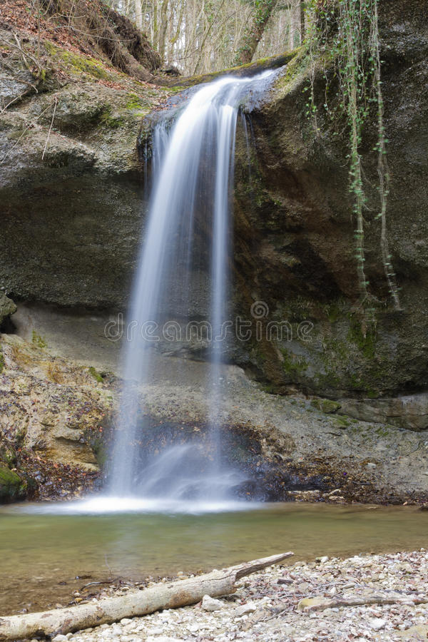 Small forest waterfall royalty free stock photography