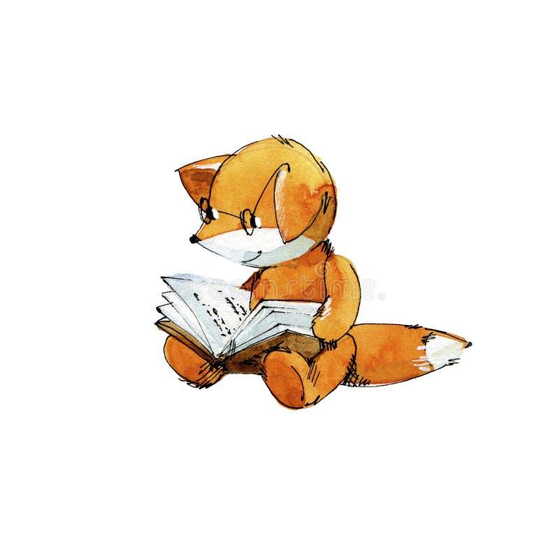 Small Fox Reading A Book. Stock Illustration. Illustration