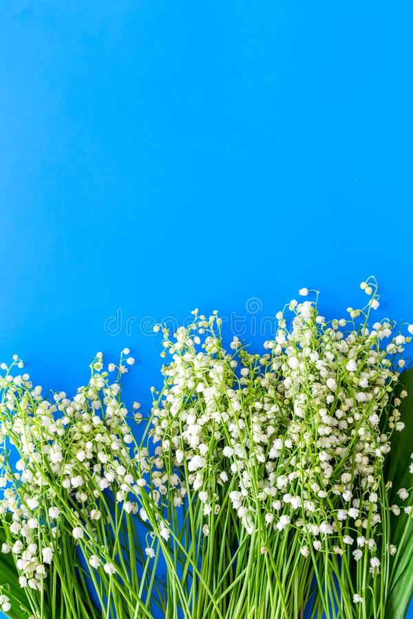 Small and fragrant spring flowers. Bouqet of lily of the valley flowers on pastel blue background top view copy space. Small and fragrant spring flowers. Bouqet royalty free stock photo