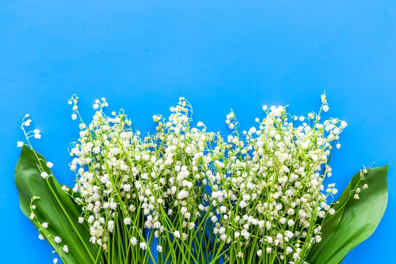 Small and fragrant spring flowers. Bouqet of lily of the valley flowers on pastel blue background top view copy space. Small and fragrant spring flowers. Bouqet royalty free stock photography