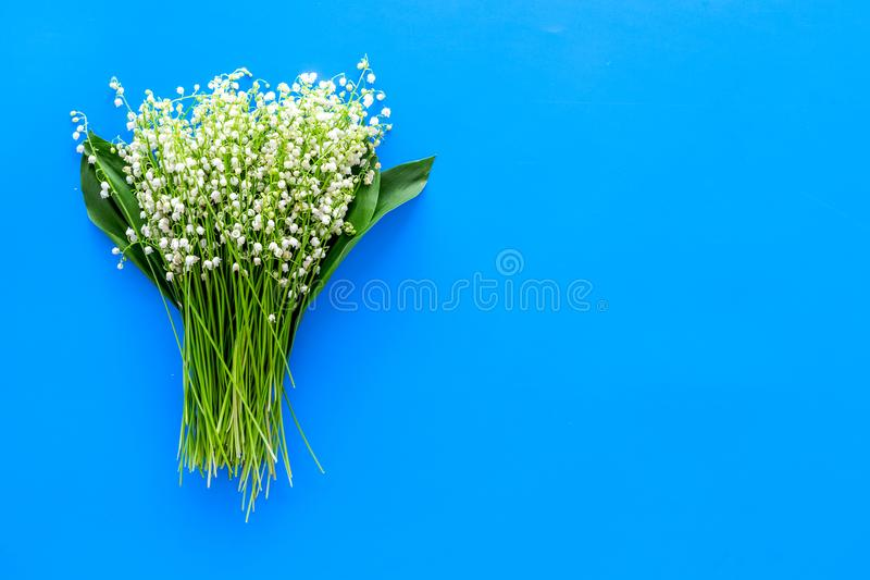 Small and fragrant spring flowers. Bouqet of lily of the valley flowers on pastel blue background top view copy space. Small and fragrant spring flowers. Bouqet royalty free stock image