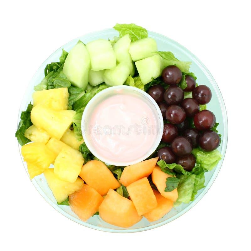 Small Fruit Tray and Yogurt royalty free stock photos