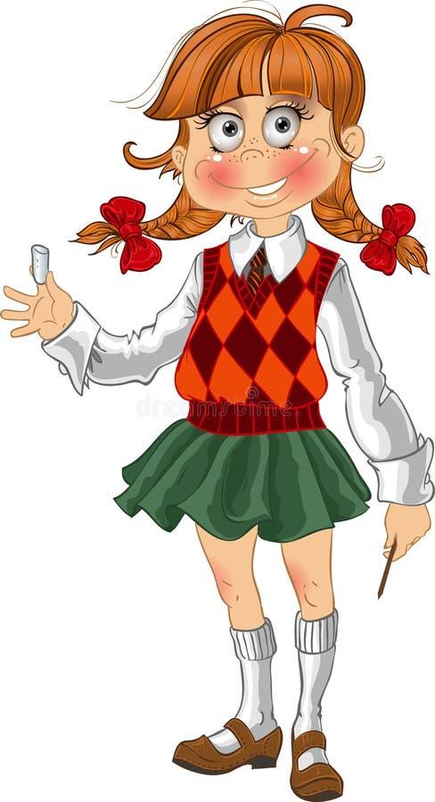 Small fun schoolgirl stock photography