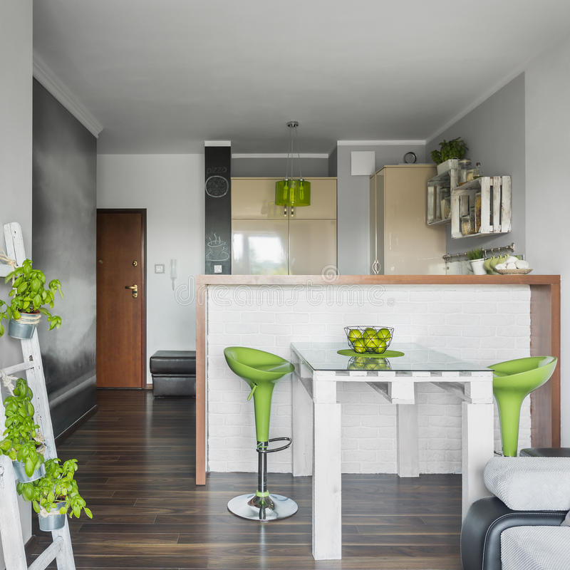 Small and functional apartment stock image