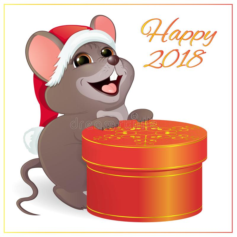 A small funny mouse with a large, round, red gift box. vector illustration