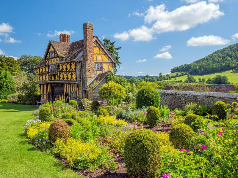 Stokesay Castle Gatehouse and garden, Shropshire, England. The small garden and the stunning 17th century gatehouse as viewed from inside the walls of Stokesay stock images