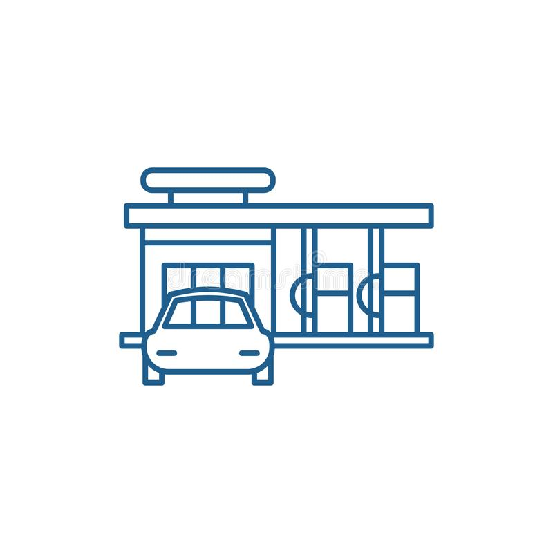 Small gas station line icon concept. Small gas station flat  vector symbol, sign, outline illustration. royalty free illustration