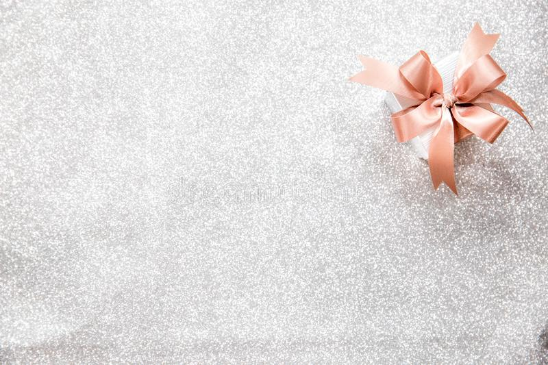 A small gift box for spacial event, birtday, valentine`s day, Ch. Ristmas, or new year. Copy space and background concept royalty free stock images