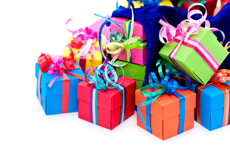 Small gift boxes and blue bag royalty free stock photos