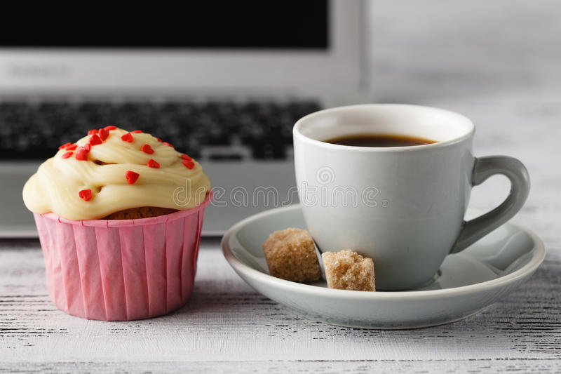 Small gift for coffee in office workplace royalty free stock photography