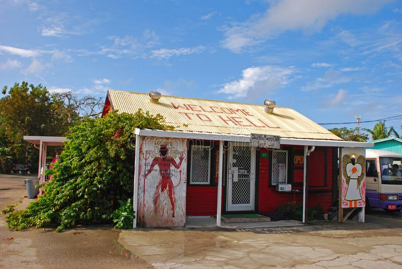 A small gift shop in Cayman Island within the rock formation area called Hell stock images