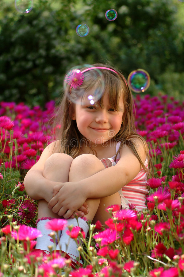 Download Small girl stock image. Image of field, blond, enchantment - 1900215