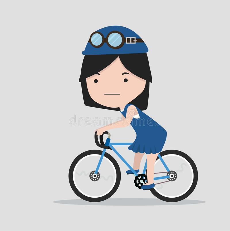 Small girl with a bicycle royalty free illustration