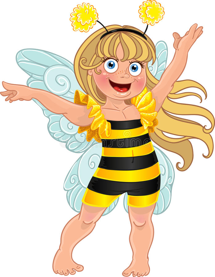 Small girl in carnival suit bee royalty free stock photos