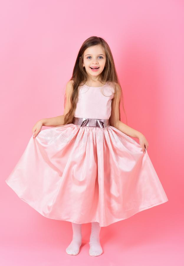Small girl child model in beautiful dress. stock image