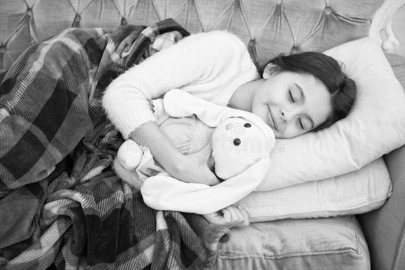 Small girl child. Sweet dreams. happy little girl sleep in bed. family and love. childrens day. Childhood happiness. Good night. Good morning. Child care stock image