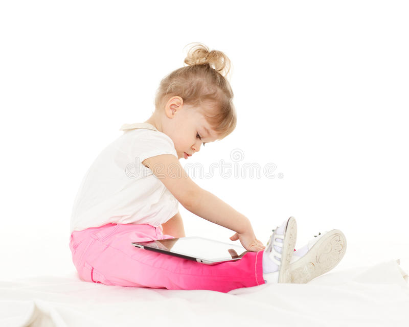 Download Small Girl With Computer Tablet. Royalty Free Stock Photography - Image: 38504357