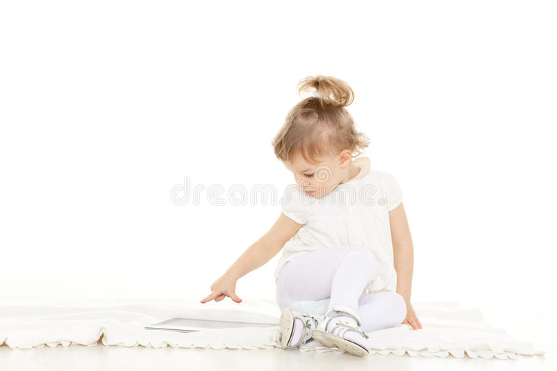 Download Small Girl With Computer Tablet. Stock Image - Image: 38504387