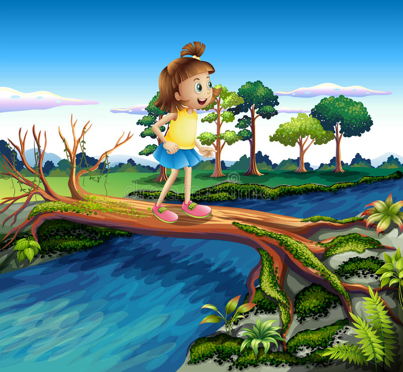A small girl crossing the river stock illustration