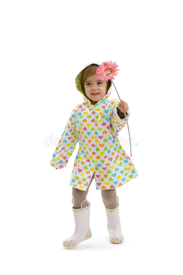 Small girl with flower stock photo