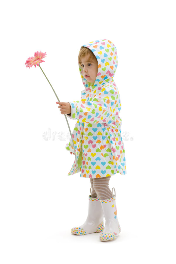 Small girl giving flower royalty free stock photos