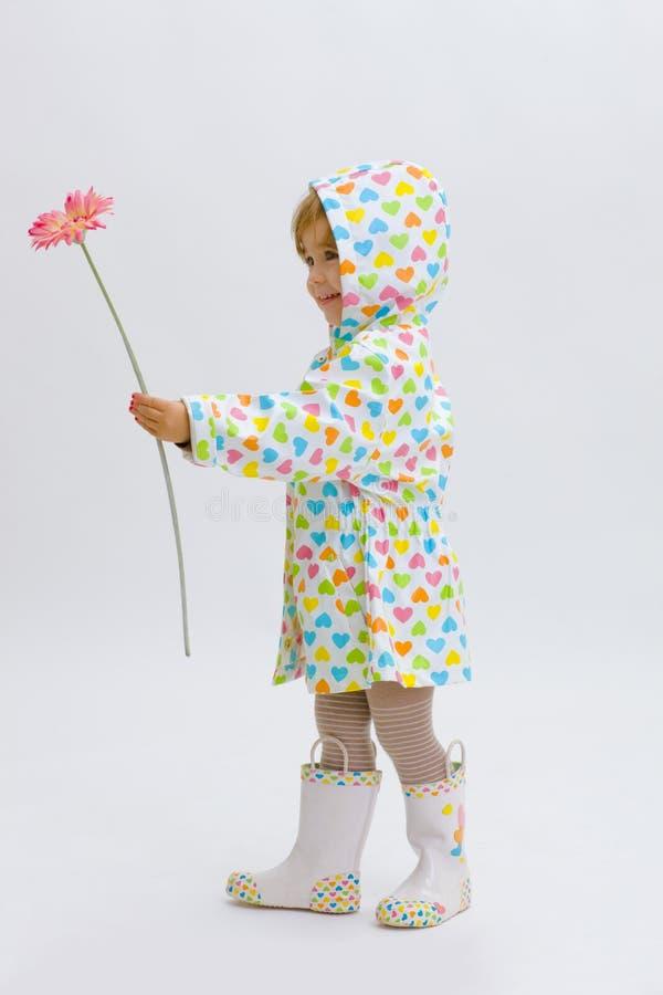 Small girl giving flower stock images