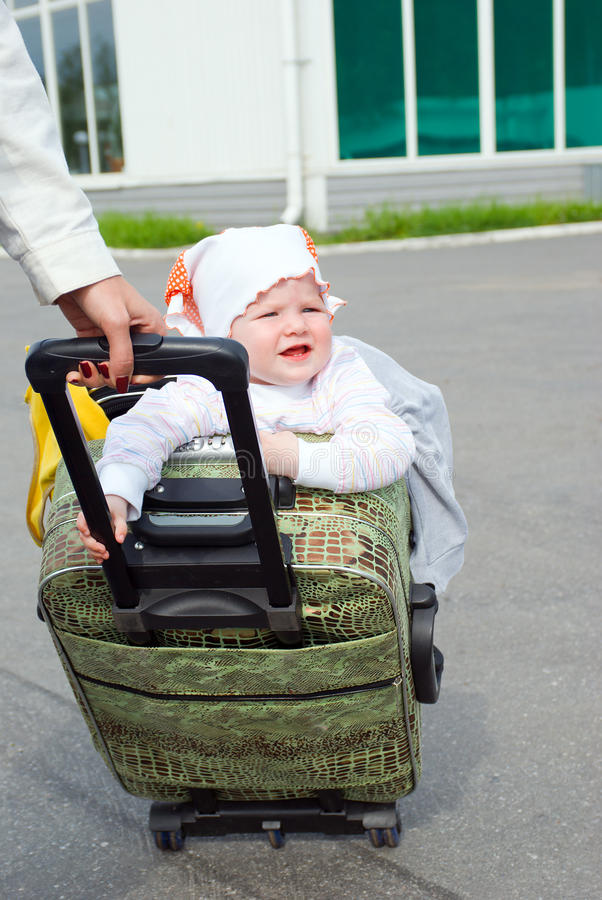 Download Small Girl Leaves In Journey Stock Photo - Image: 9952842