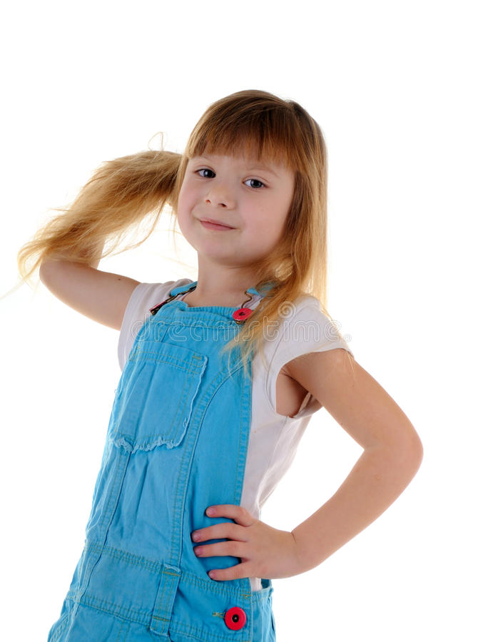 Small girl with long hair royalty free stock photos