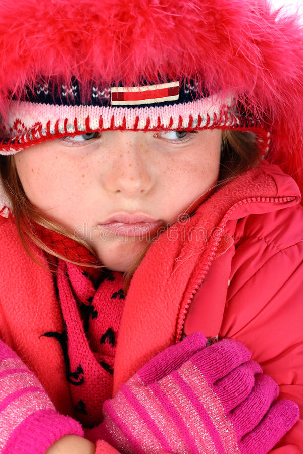 Download Small Girl In Red Winter Clothes Isolated On White Stock Photo - Image: 16379386