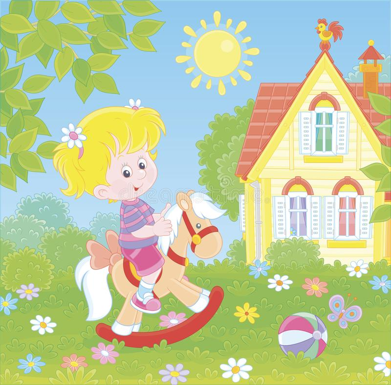 Small girl riding on a toy horse stock illustration