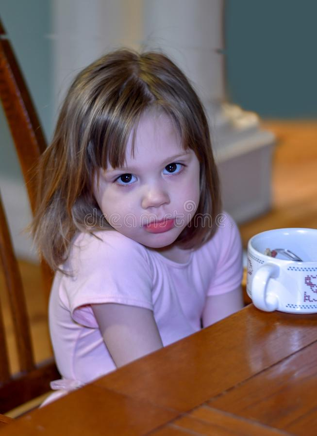 Small girl is a picky eater royalty free stock photo