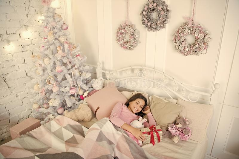 Small girl sleeping at home. christmas holiday. waiting for santa. Winter. The morning before Xmas. Sleep. happy new stock photography