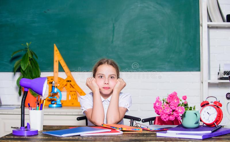 Small girl study audio book in headset. Formal informal and nonformal education. future success is studying. digital age stock images