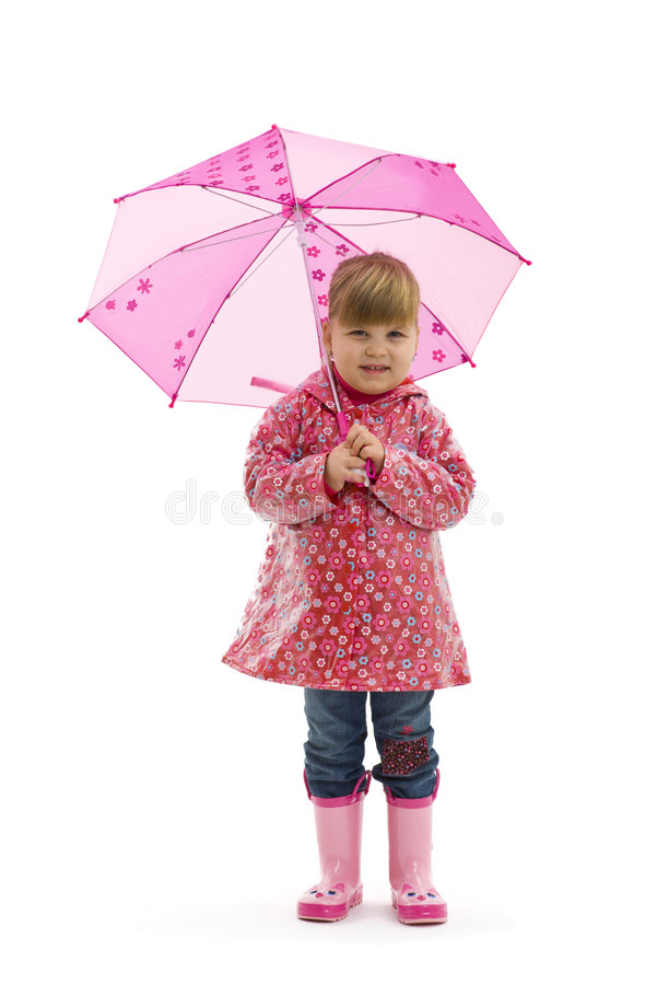 Small girl with umbrella royalty free stock image
