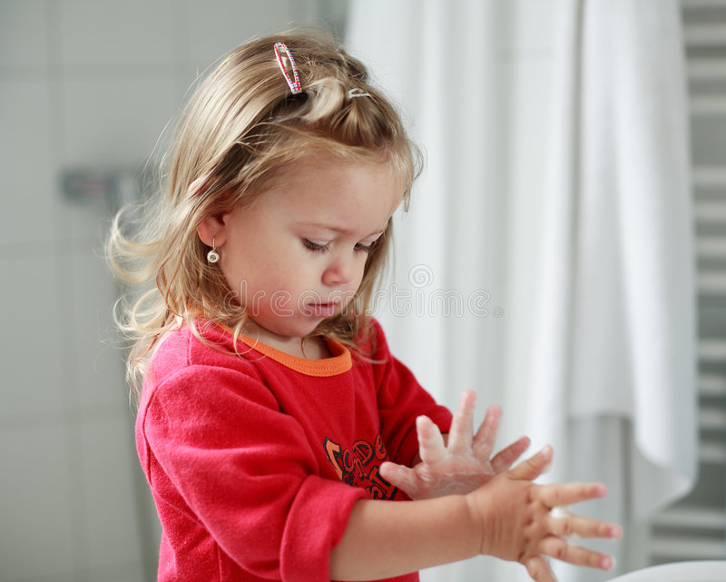 Download Small Girl Washing Her Hands Stock Image - Image: 1633225