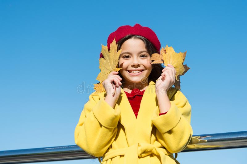 Small girl wear fall outfit outdoors. Autumn bucket list. Smiling kid collecting memories. Farewell to autumn. Last stock photos