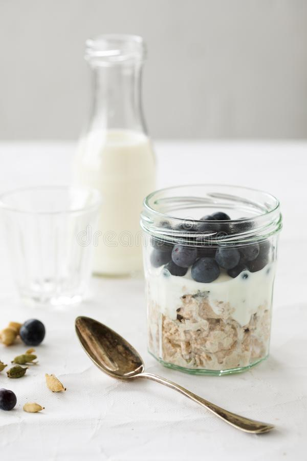 Overnight oats with blue berries royalty free stock image