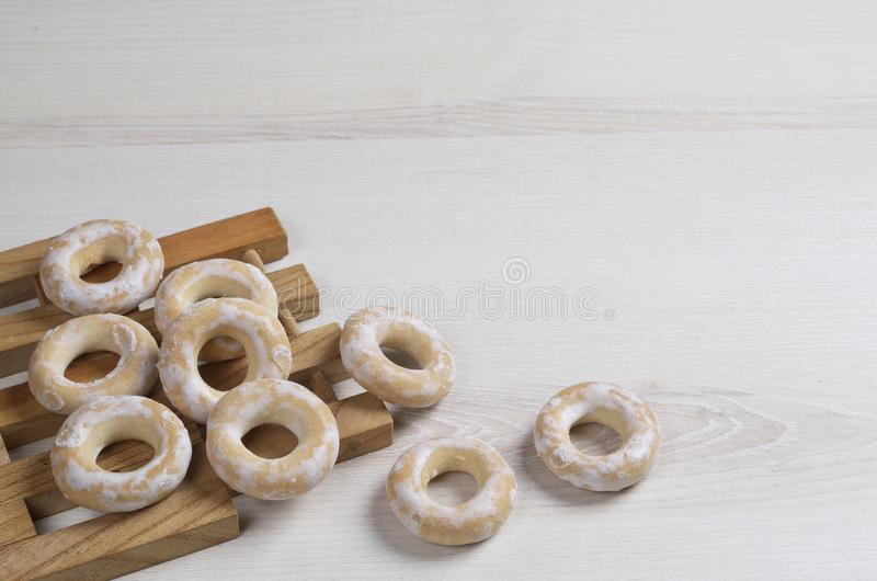 Small glazed bagels royalty free stock image