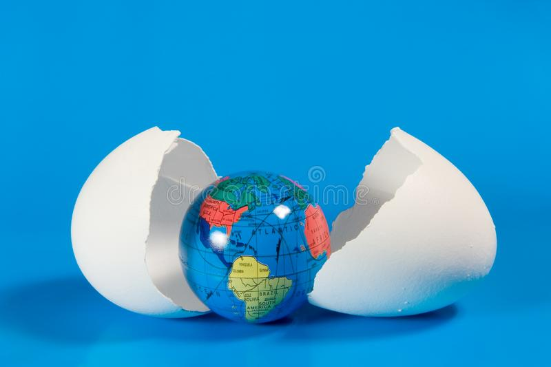Download Small Globe In Broken Eggshell Stock Image - Image: 7896019