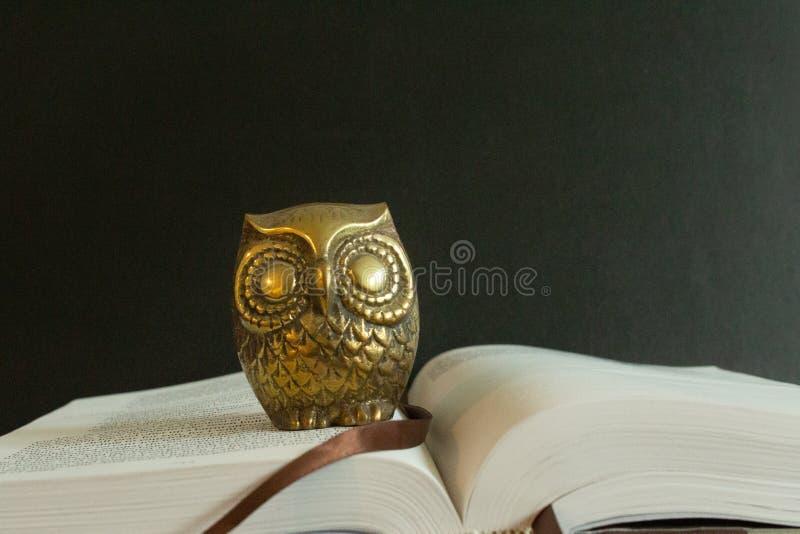 A golden figure of an owl on top of an open book. stock photo
