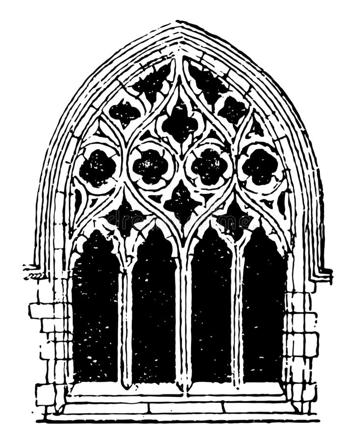 Free Small Gothic Window Tracery, During The Fourteenth Century,  Vintage Engraving Stock Photography - 163293572